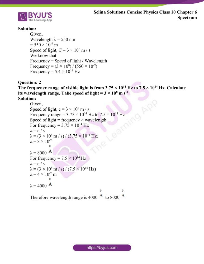 Selina Solutions Concise Physics Class 10 Chapter 6 Spectrum 7