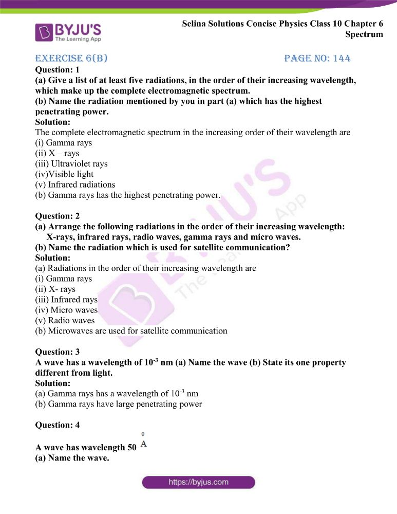 Selina Solutions Concise Physics Class 10 Chapter 6 Spectrum 8