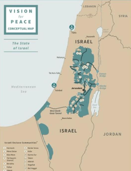 Trump's peace plan - Israel Map