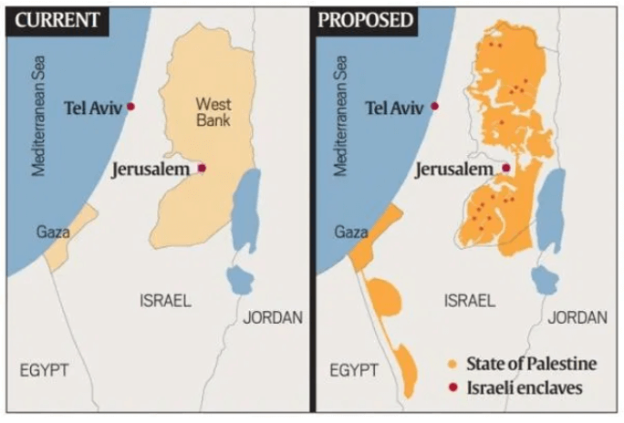 Trump's peace plan for Israel and Palestine - Map