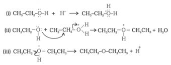 Formation of ethers by dehydration of an alcohol