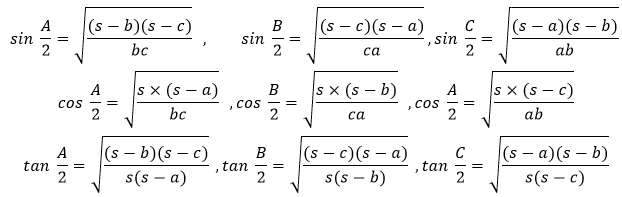 Important Triangle Half Angles Values