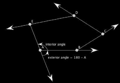 Interior and exterior angles of a pentagon