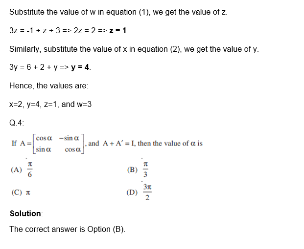 Important Questions for Class 12 Maths Chapter 3 Matrices