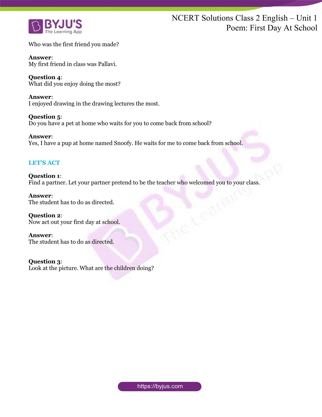 NCERT Solutions for Class 2 English Unit 1 Poem First Day ...