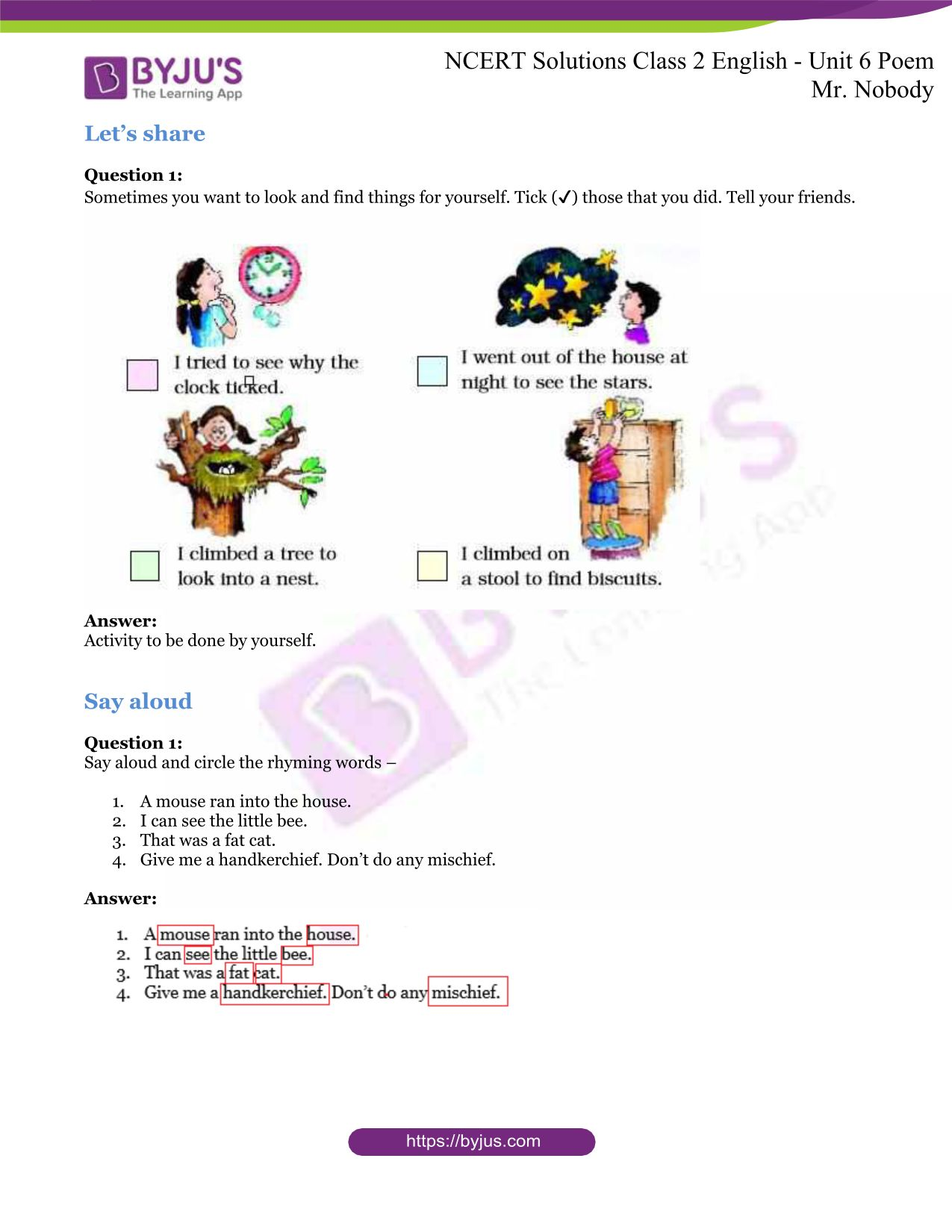 NCERT Solutions for Class 2 English Unit 6 Poem - Mr ...