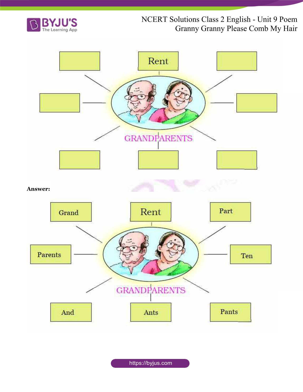 NCERT Solutions for Class 2 English Unit 9 Poem - Granny ...
