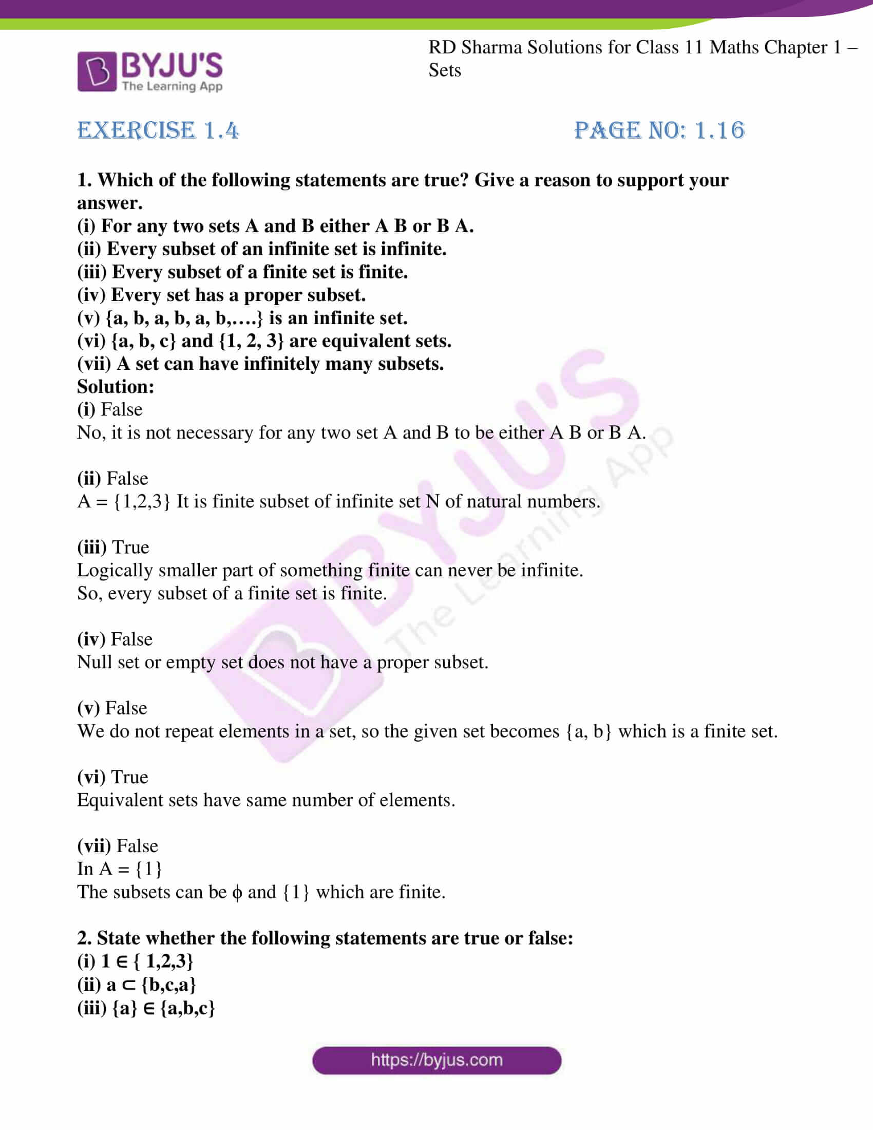 rd sharma class 11 maths ch 1 sets ex 4 1