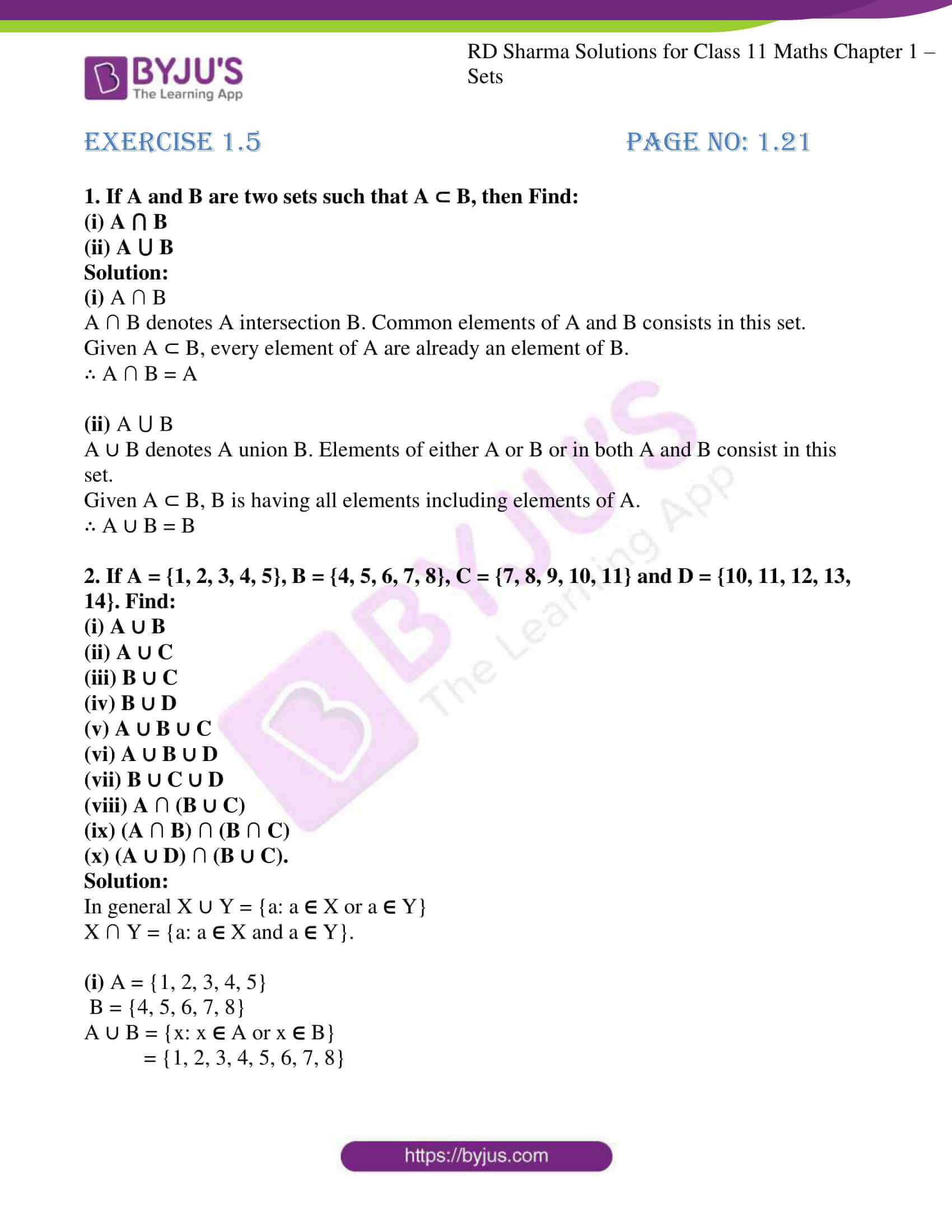 rd sharma class 11 maths ch 1 sets ex 5 1