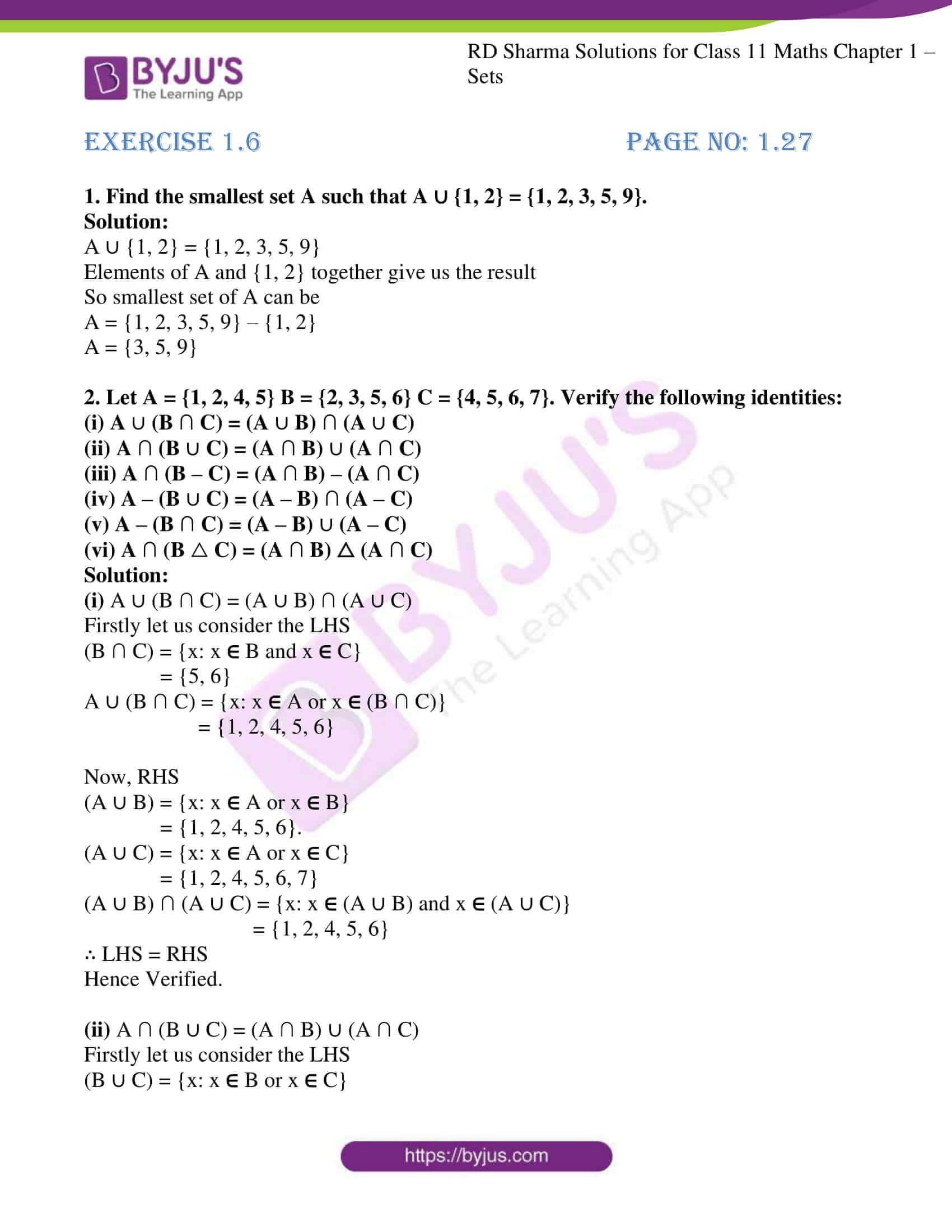 rd sharma class 11 maths ch 1 sets ex 6 1