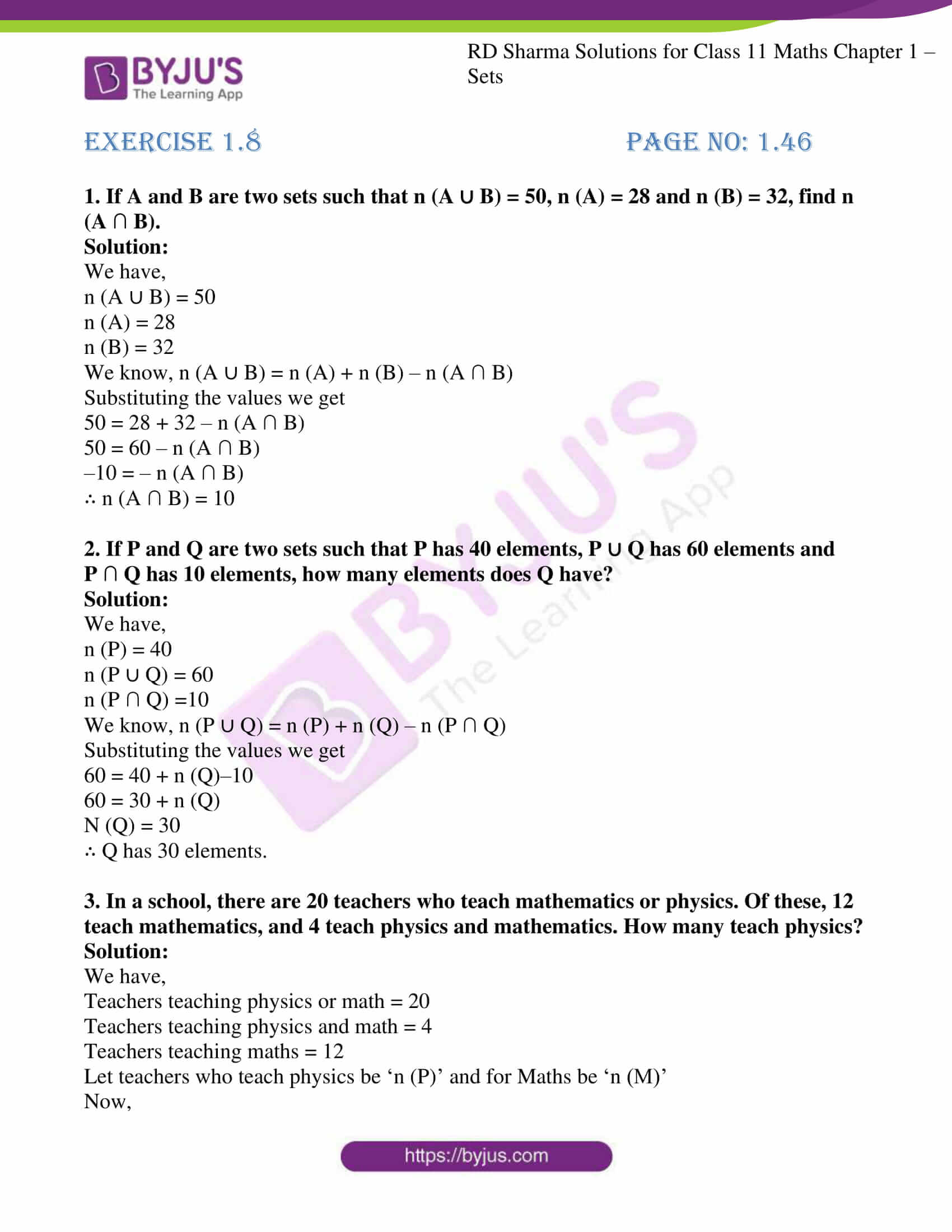 rd sharma class 11 maths ch 1 sets ex 8 1