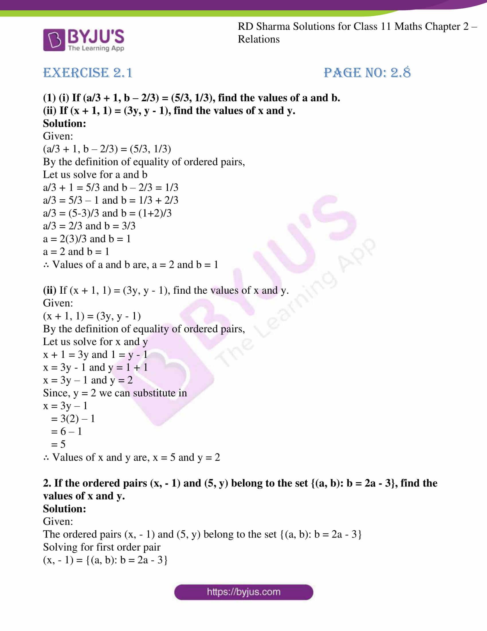 rd sharma class 11 maths ch 2 relations ex 1 1
