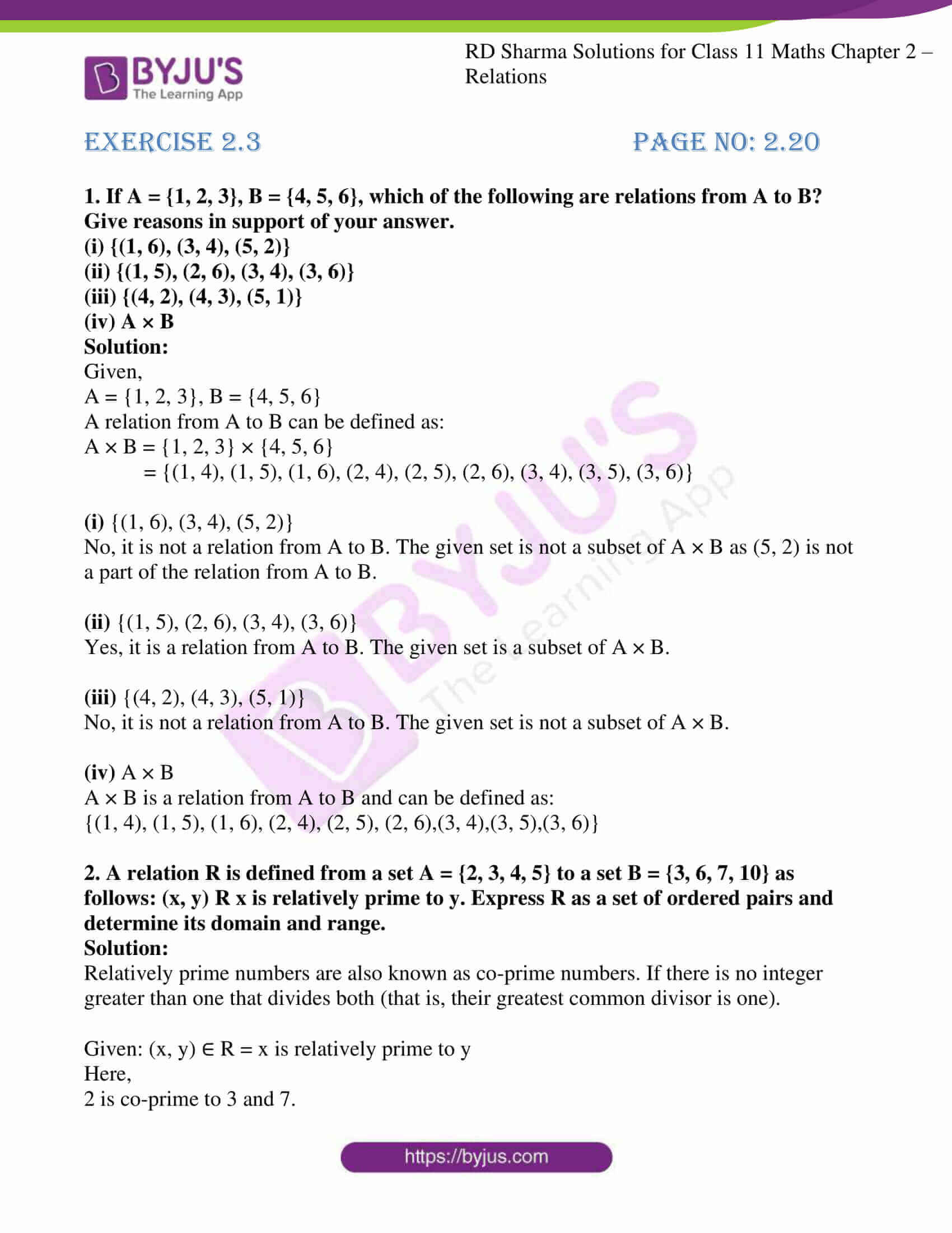 rd sharma class 11 maths ch 2 relations ex 3 1