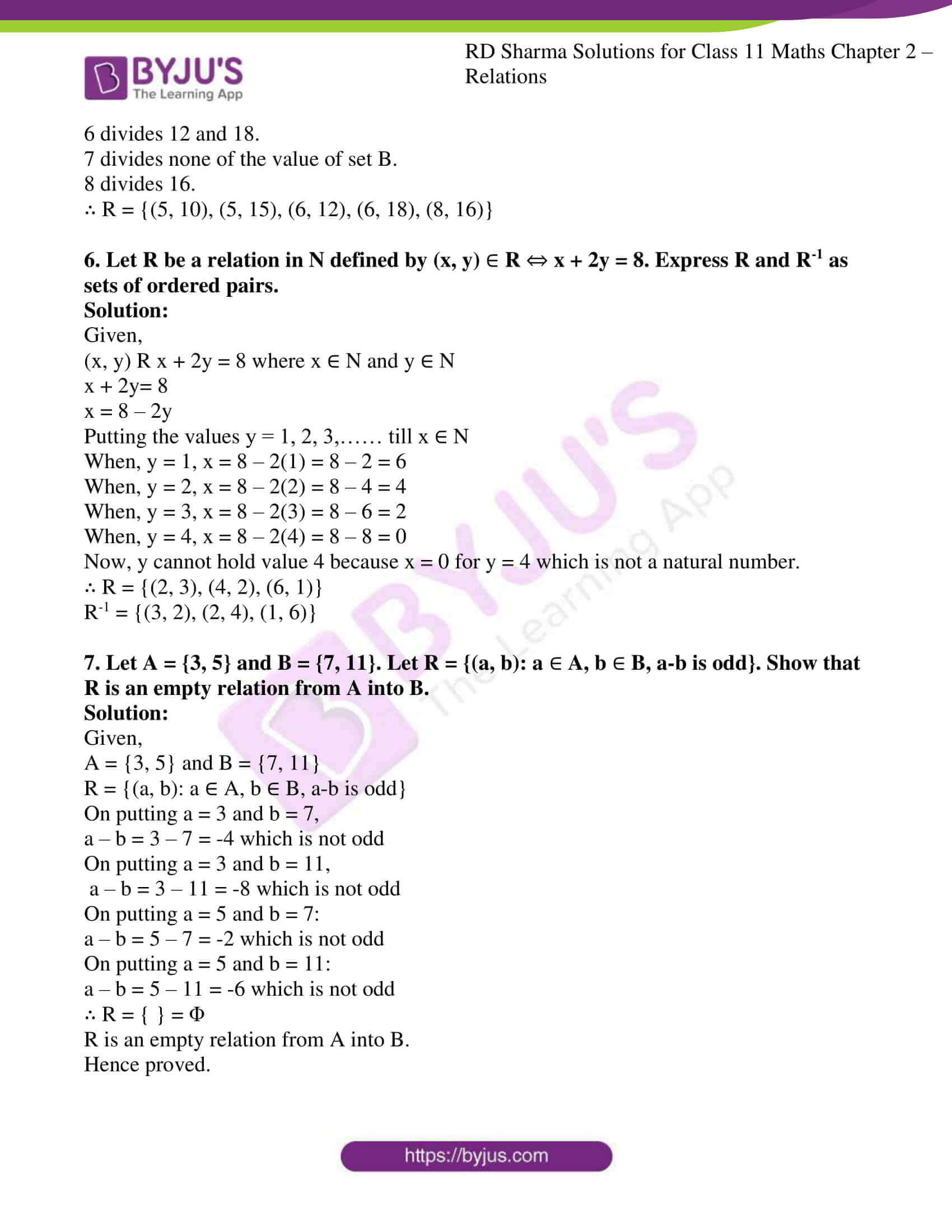 rd sharma class 11 maths ch 2 relations ex 3 5