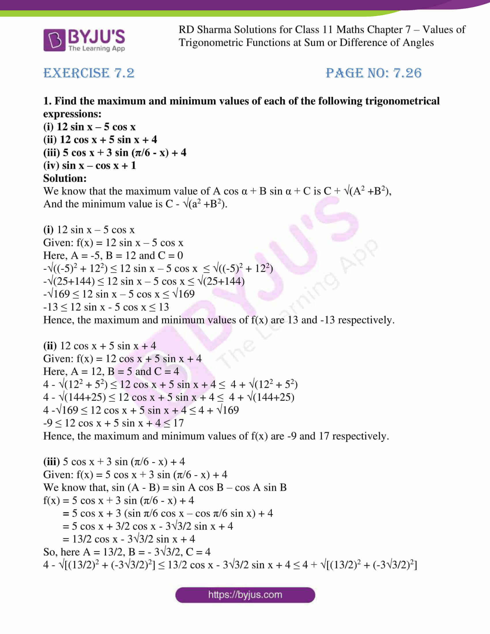 rd sharma class 11 maths ch 7 ex 2 1