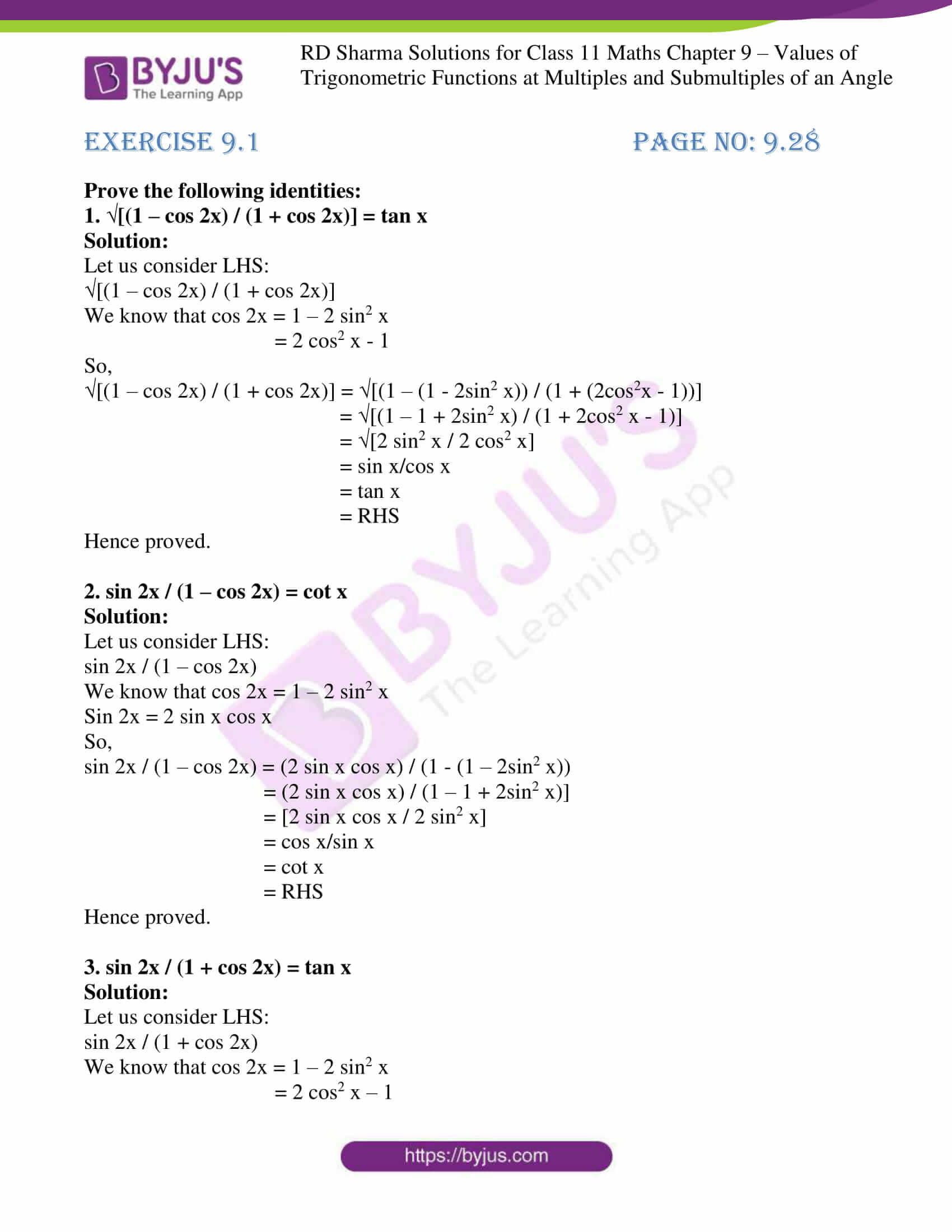 rd sharma class 11 maths ch 9 ex 1 01