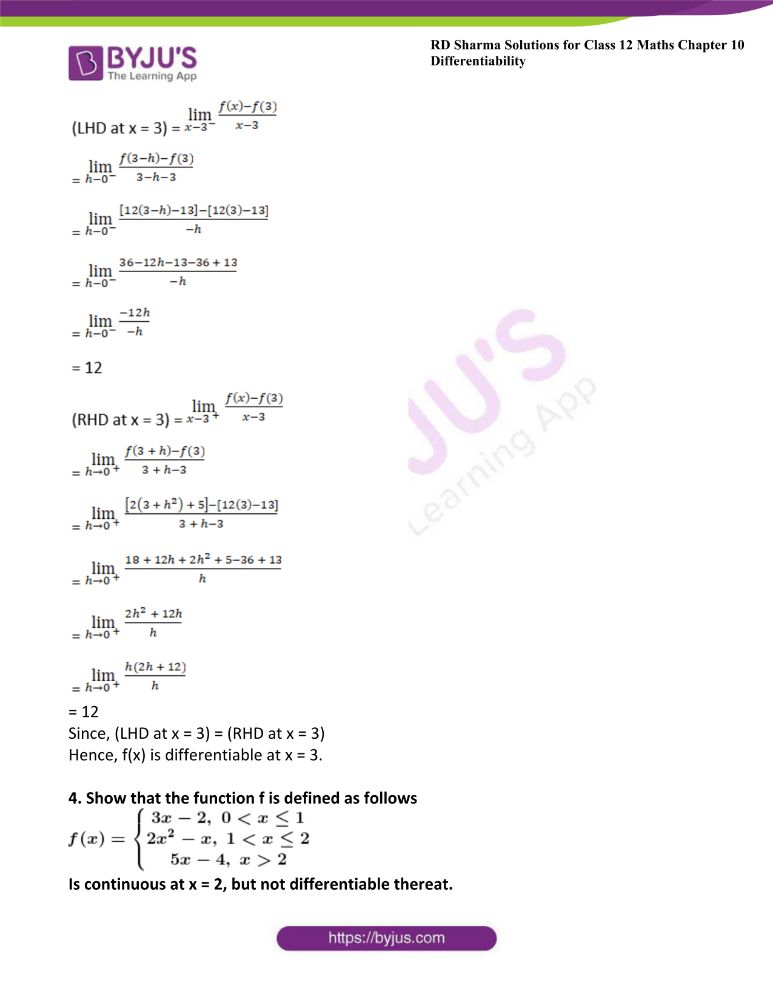 RD Sharma Class 12 Maths Solutions Chapter 10 Differentibaility Exercise 10.1 3