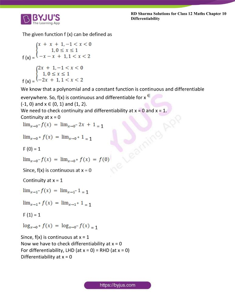 RD Sharma Class 12 Maths Solutions Chapter 10 Differentibaility Exercise 10.1 6