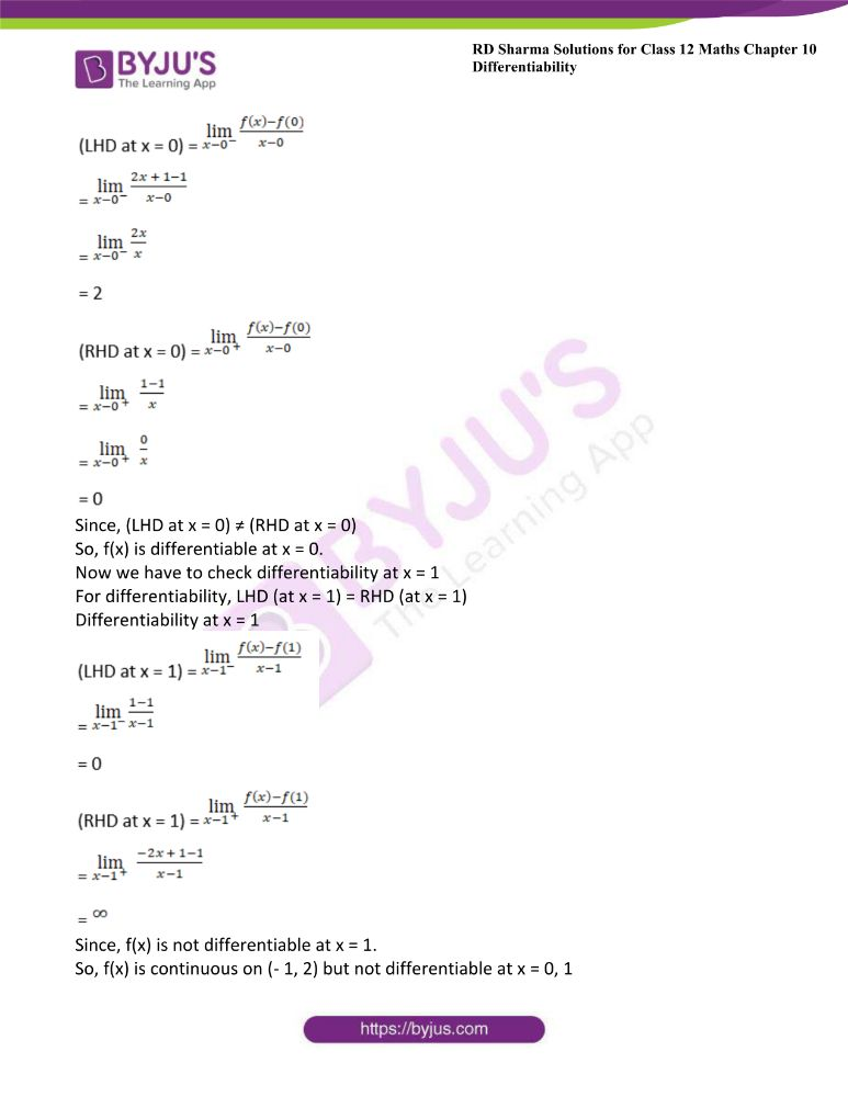 RD Sharma Class 12 Maths Solutions Chapter 10 Differentibaility Exercise 10.1 7