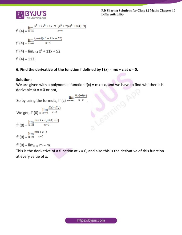 RD Sharma Class 12 Maths Solutions Chapter 10 Differentibaility Exercise 10.2 4