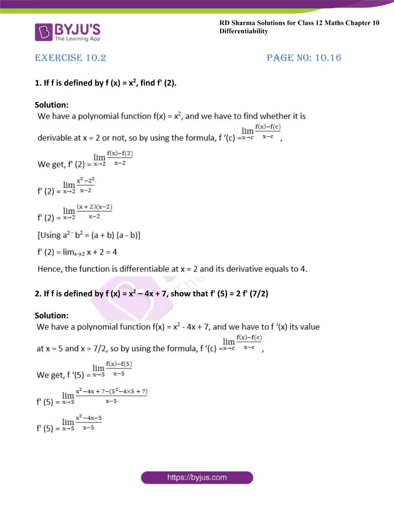 RD Sharma Class 12 Maths Solutions Chapter 10 Differentibaility Exercise 10.2