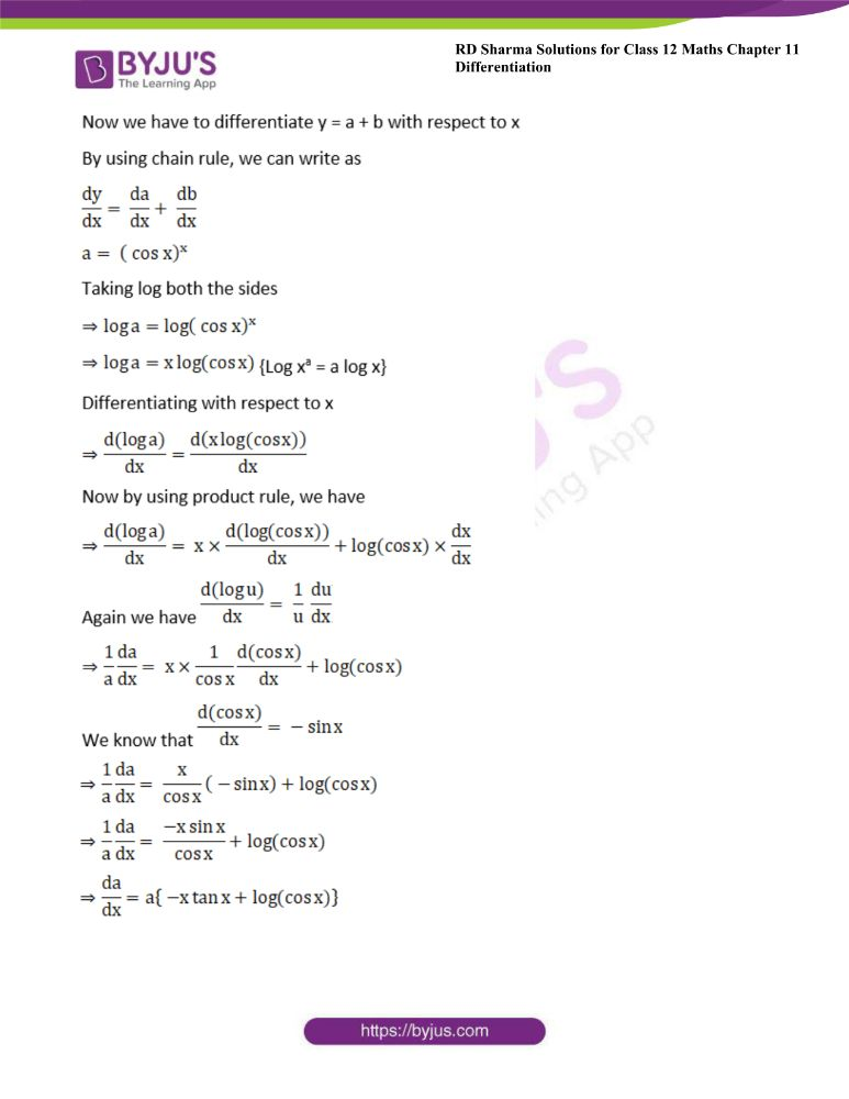 RD Sharma Class 12 Maths Solutions Chapter 11 Differentiation 122