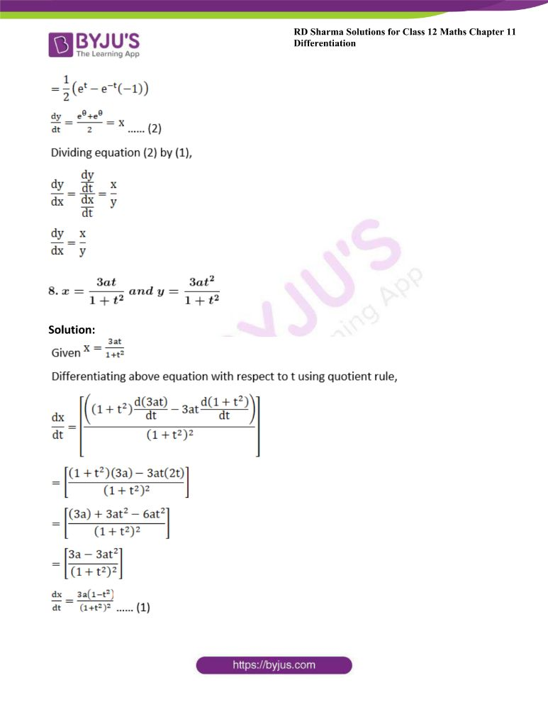 RD Sharma Class 12 Maths Solutions Chapter 11 Differentiation 140