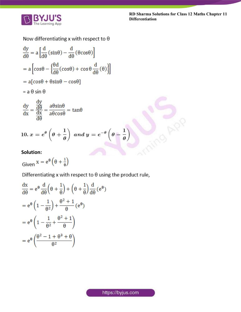 RD Sharma Class 12 Maths Solutions Chapter 11 Differentiation 142