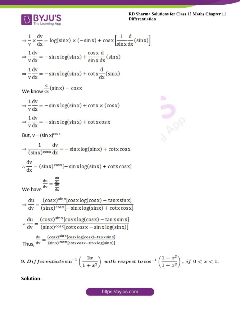 RD Sharma Class 12 Maths Solutions Chapter 11 Differentiation 176
