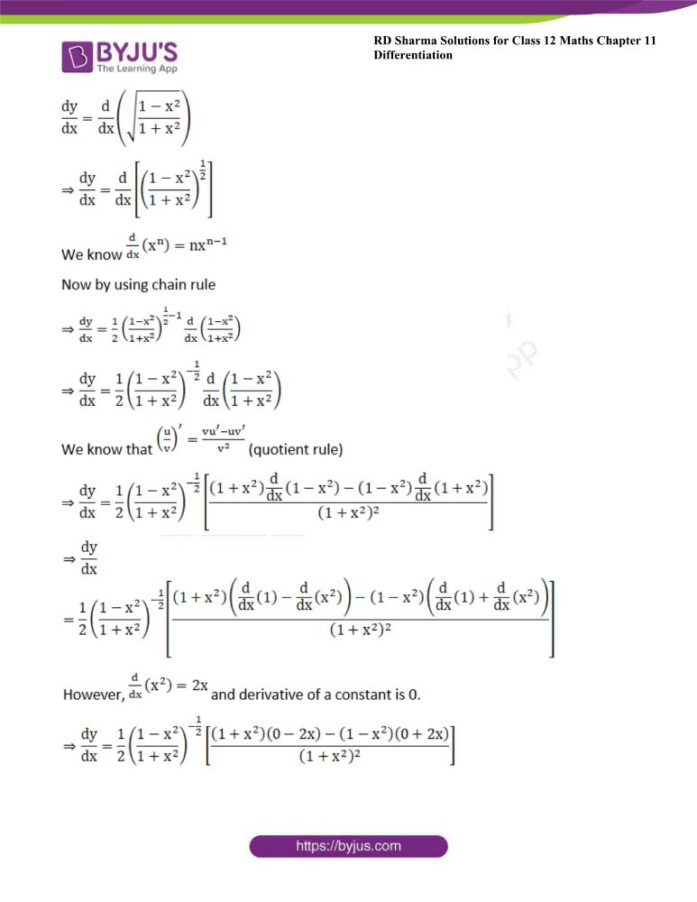RD Sharma Class 12 Maths Solutions Chapter 11 Differentiation 22