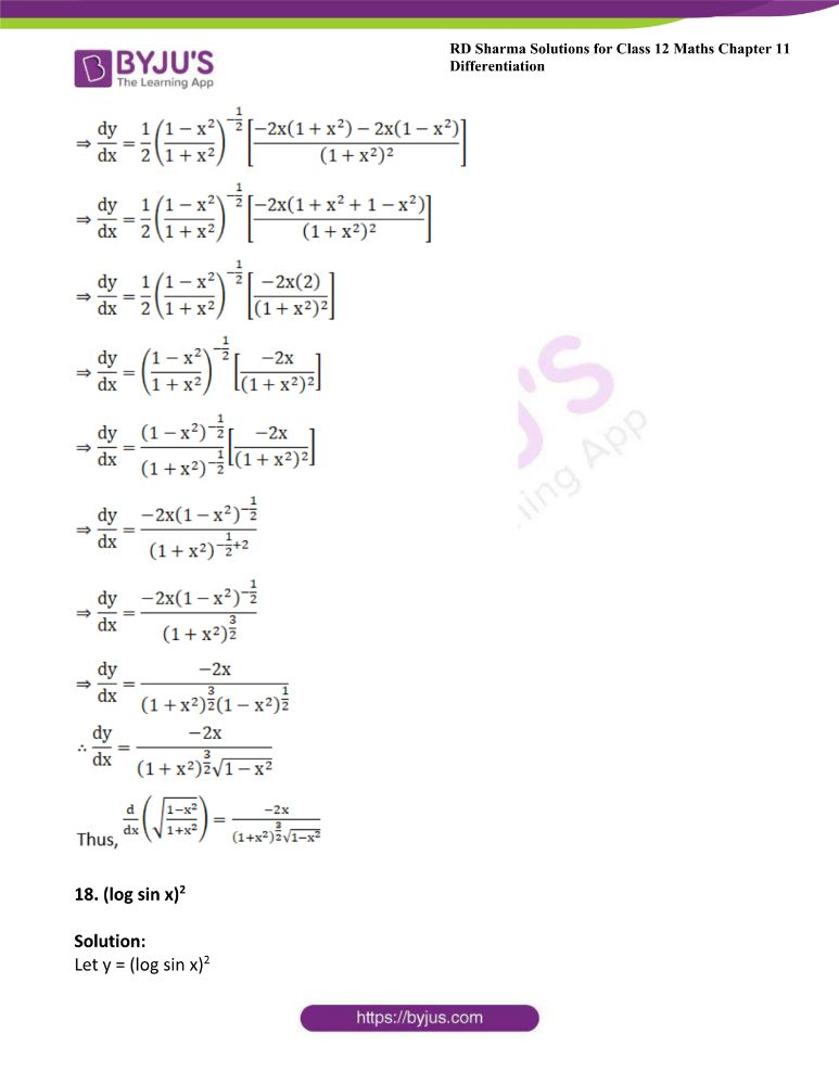 RD Sharma Class 12 Maths Solutions Chapter 11 Differentiation 23