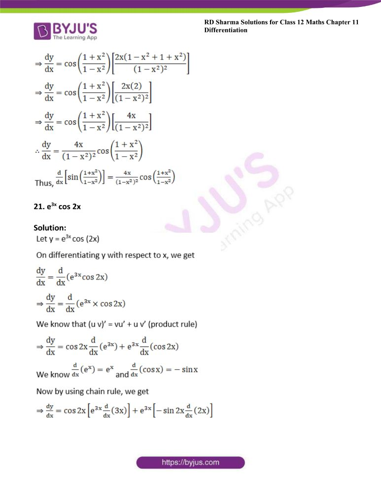 RD Sharma Class 12 Maths Solutions Chapter 11 Differentiation 28