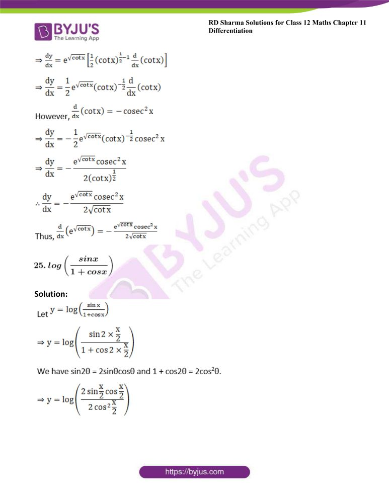 RD Sharma Class 12 Maths Solutions Chapter 11 Differentiation 32