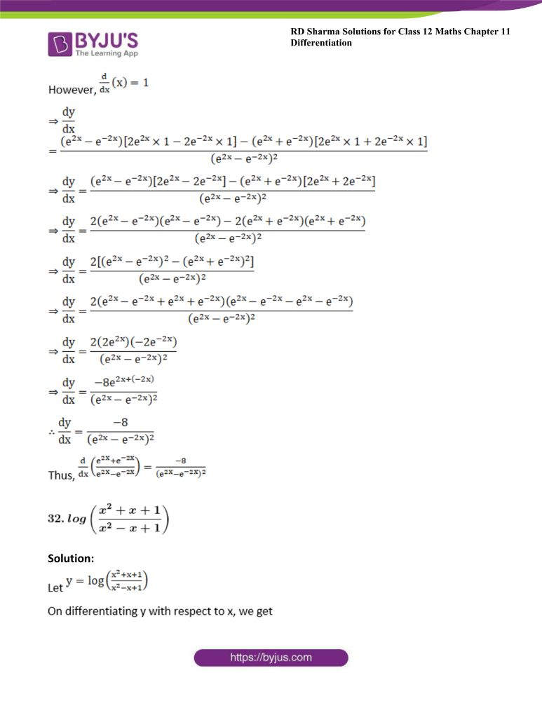 RD Sharma Class 12 Maths Solutions Chapter 11 Differentiation 42