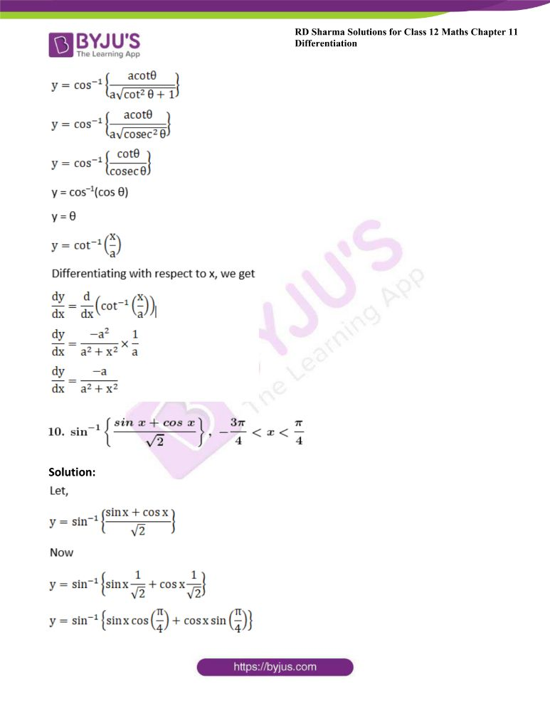RD Sharma Class 12 Maths Solutions Chapter 11 Differentiation 61