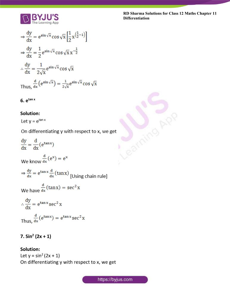 RD Sharma Class 12 Maths Solutions Chapter 11 Differentiation 8