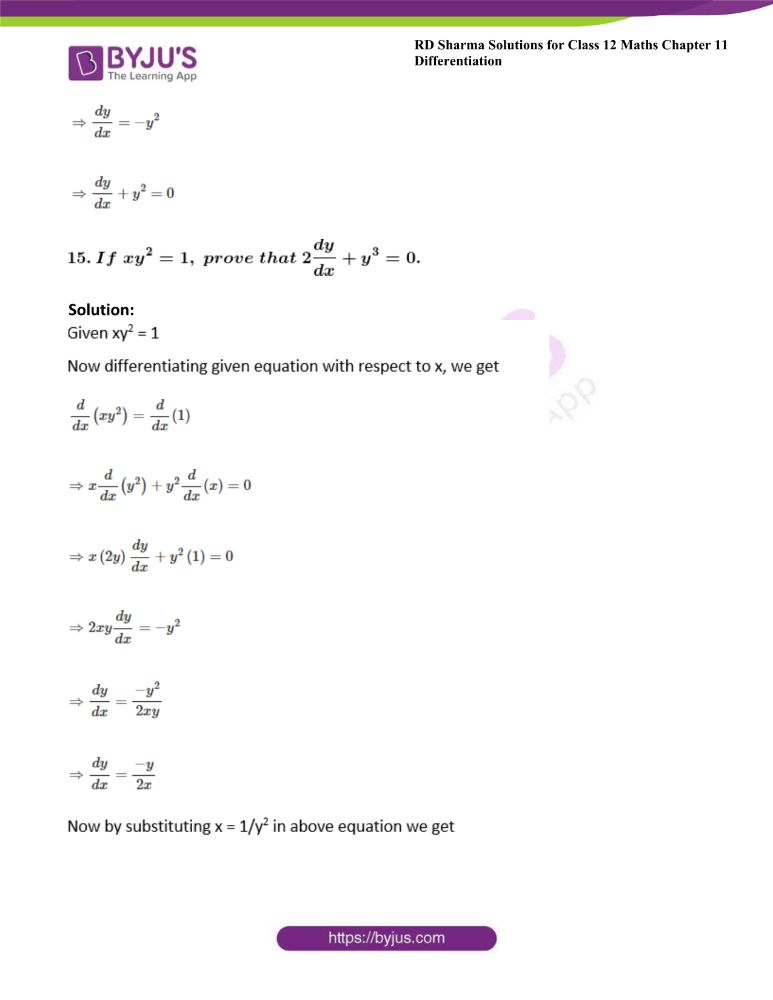 RD Sharma Class 12 Maths Solutions Chapter 11 Differentiation 90