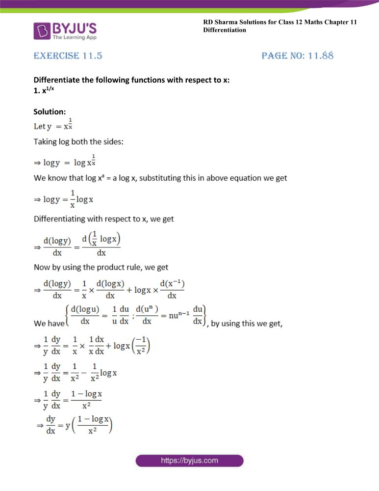 RD Sharma Class 12 Maths Solutions Chapter 11 Differentiation 92