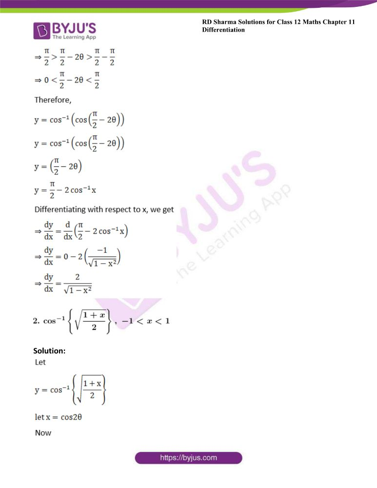 RD Sharma Class 12 Maths Solutions Chapter 11 Differentiation Exercise 11.3 1