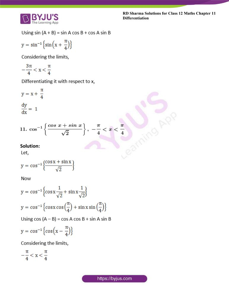 RD Sharma Class 12 Maths Solutions Chapter 11 Differentiation Exercise 11.3 11