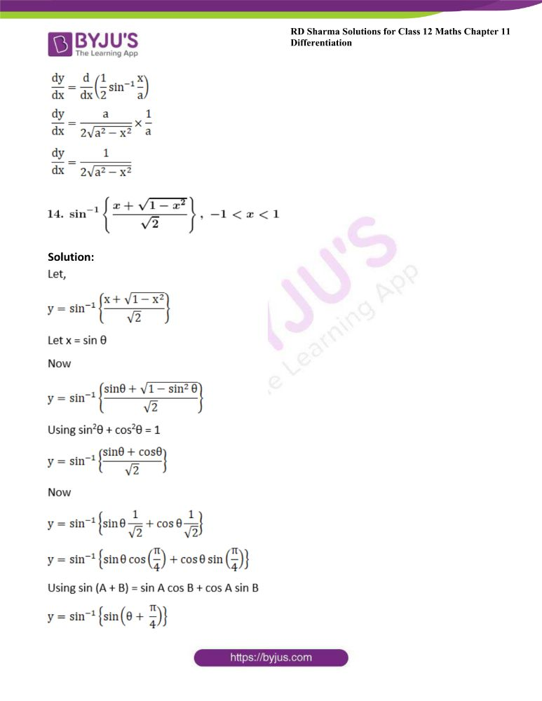 RD Sharma Class 12 Maths Solutions Chapter 11 Differentiation Exercise 11.3 15