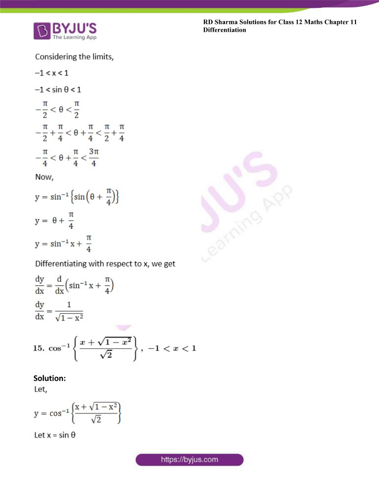 RD Sharma Class 12 Maths Solutions Chapter 11 Differentiation Exercise 11.3 16