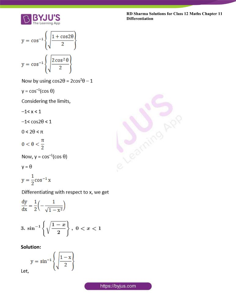 RD Sharma Class 12 Maths Solutions Chapter 11 Differentiation Exercise 11.3 2