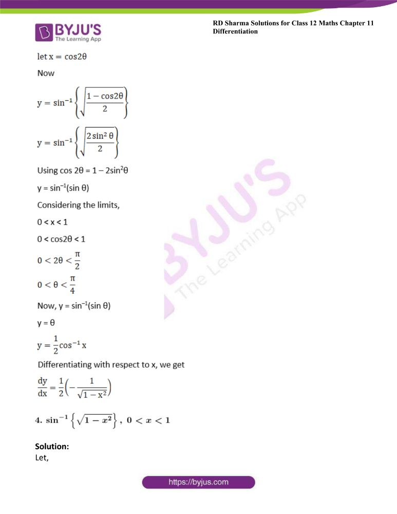 RD Sharma Class 12 Maths Solutions Chapter 11 Differentiation Exercise 11.3 3