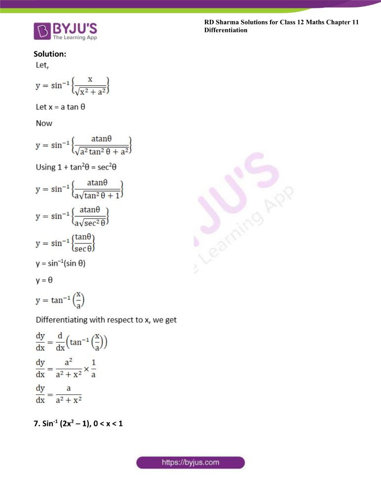 RD Sharma Class 12 Maths Solutions Chapter 11 Differentiation Exercise 11.3 6