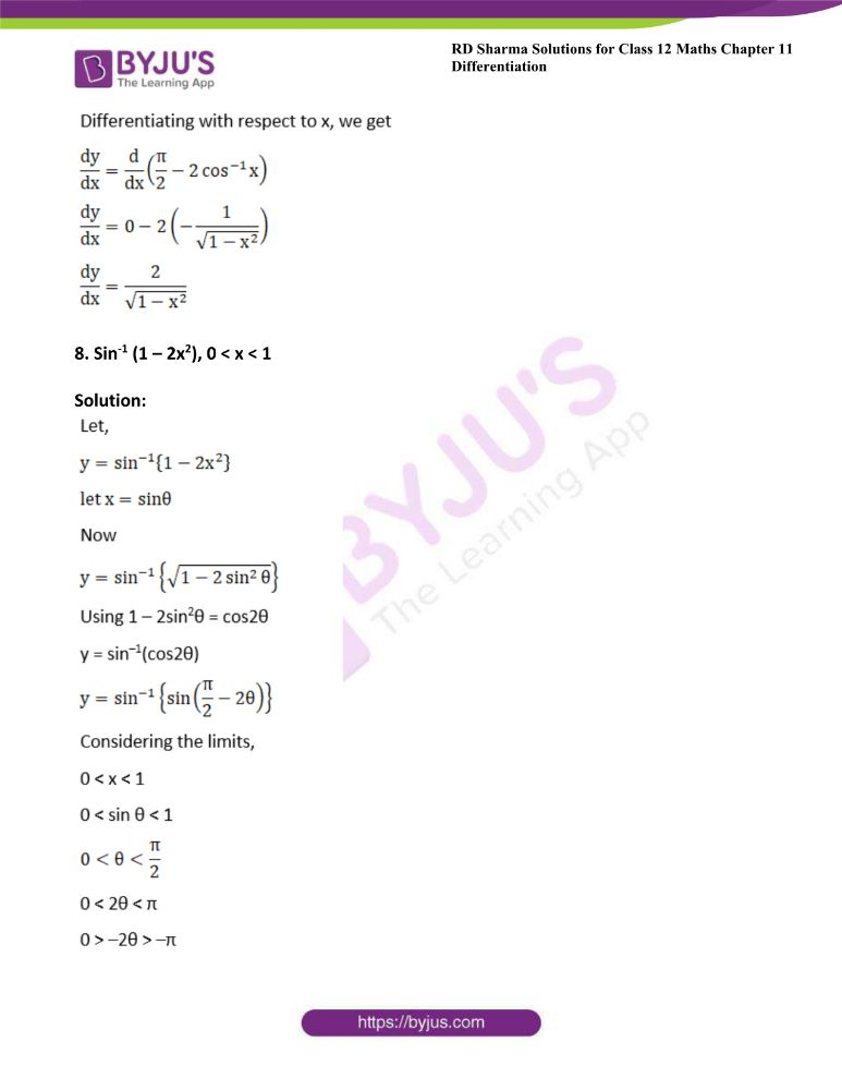 RD Sharma Class 12 Maths Solutions Chapter 11 Differentiation Exercise 11.3 8
