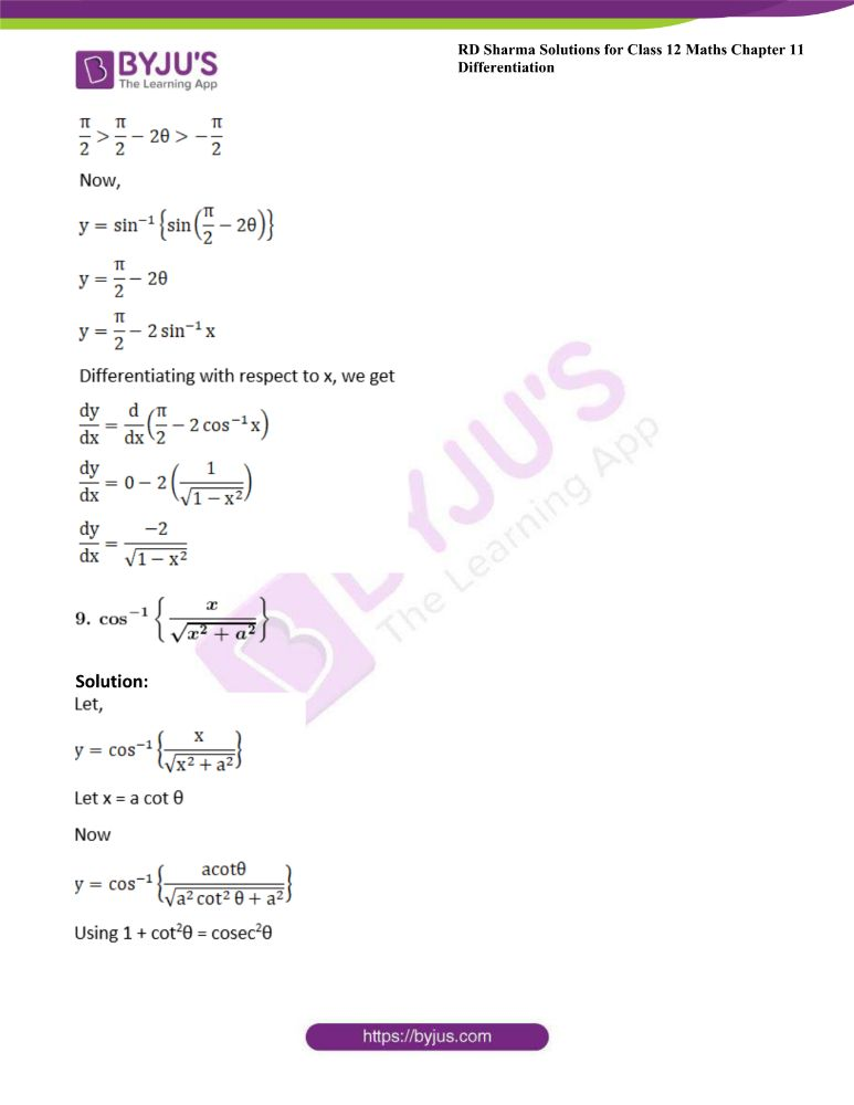 RD Sharma Class 12 Maths Solutions Chapter 11 Differentiation Exercise 11.3 9