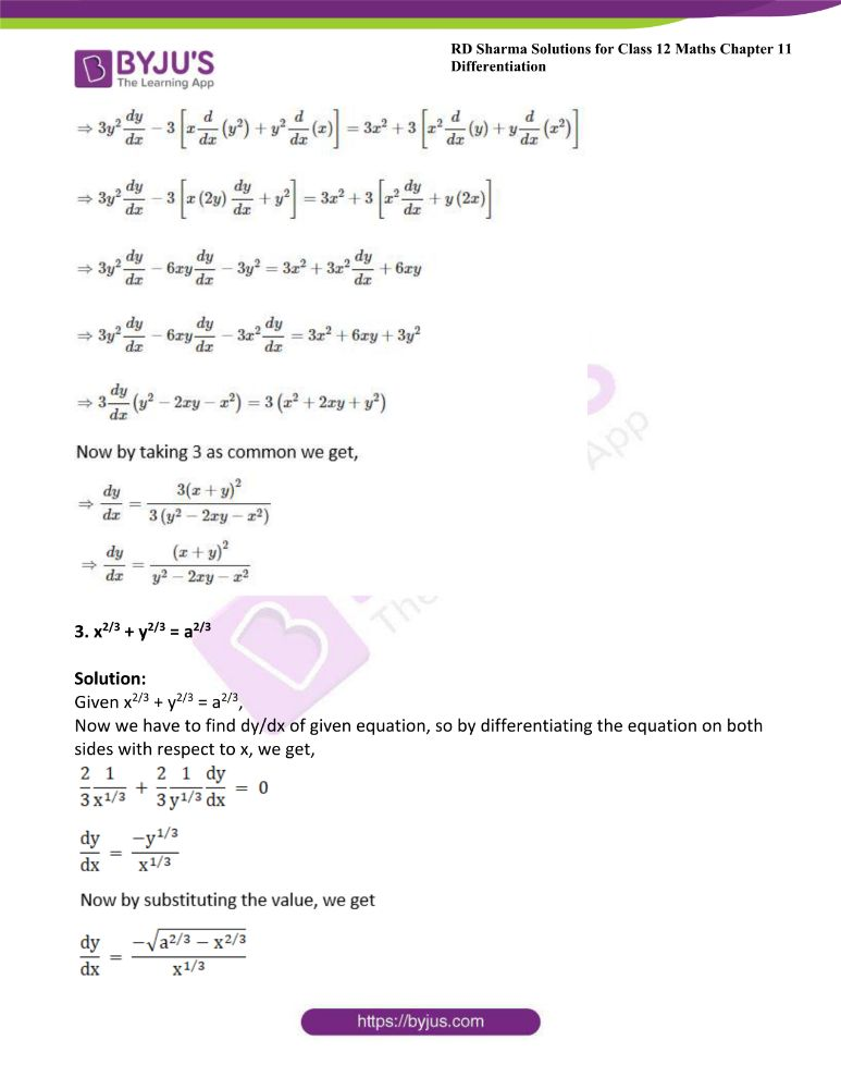 RD Sharma Class 12 Maths Solutions Chapter 11 Differentiation Exercise 11.4 1