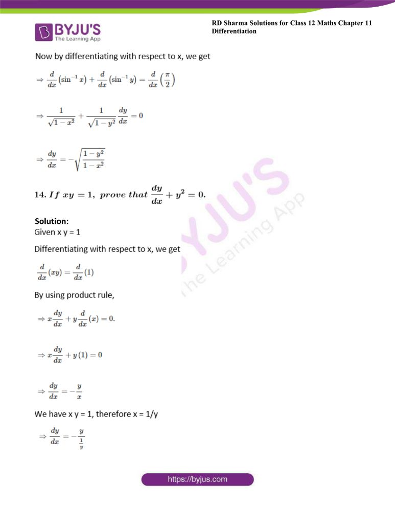 RD Sharma Class 12 Maths Solutions Chapter 11 Differentiation Exercise 11.4 10