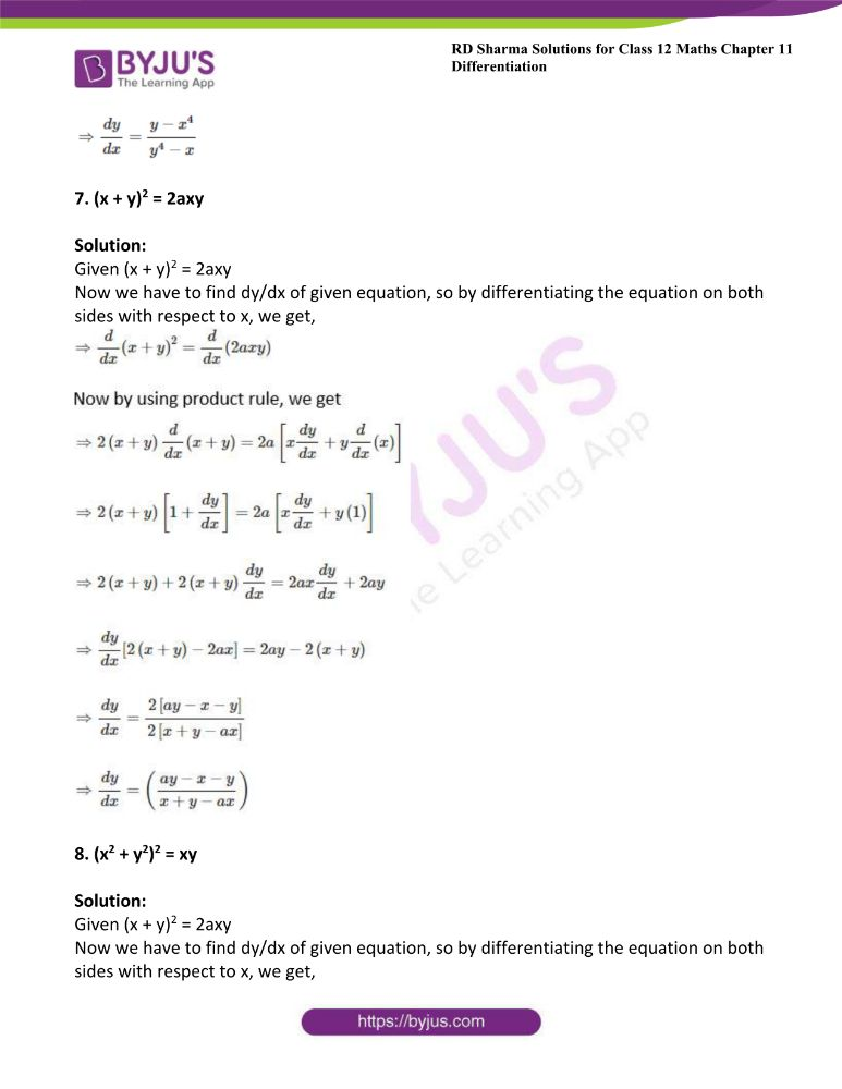 RD Sharma Class 12 Maths Solutions Chapter 11 Differentiation Exercise 11.4 4